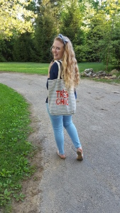 Old Navy French Inspired Striped Canvas Tote